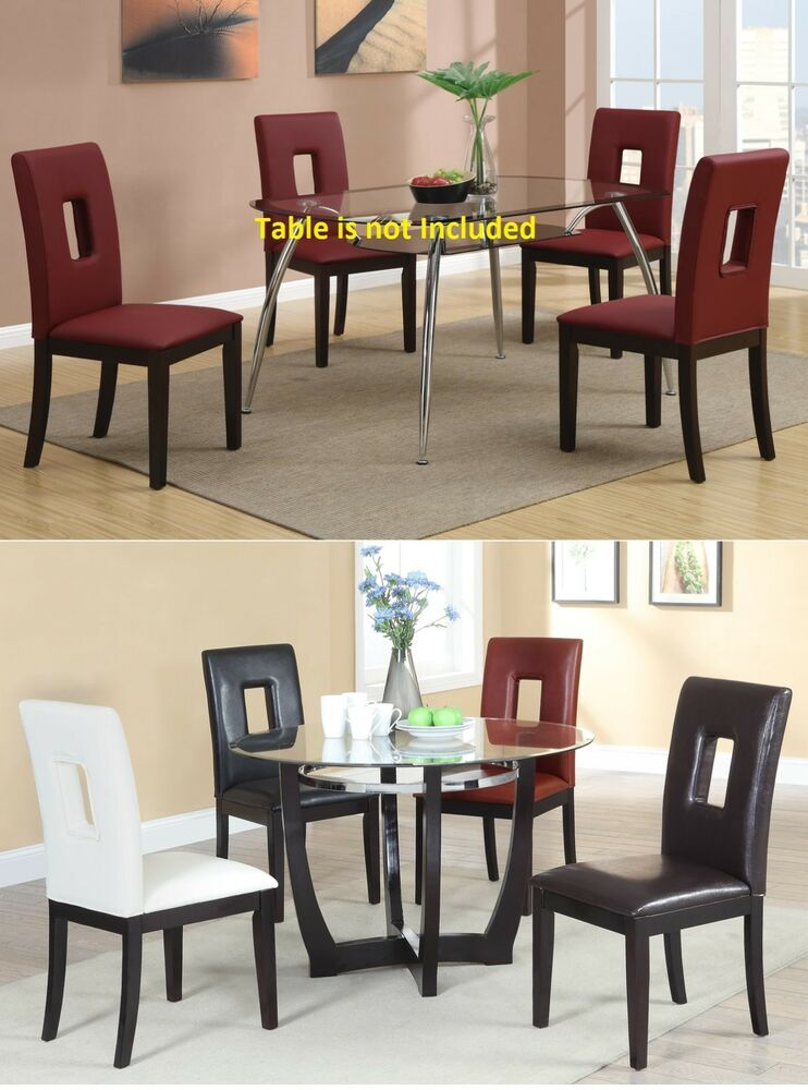 Dining room black red dining room faux leather modern for Black leather dining room chairs