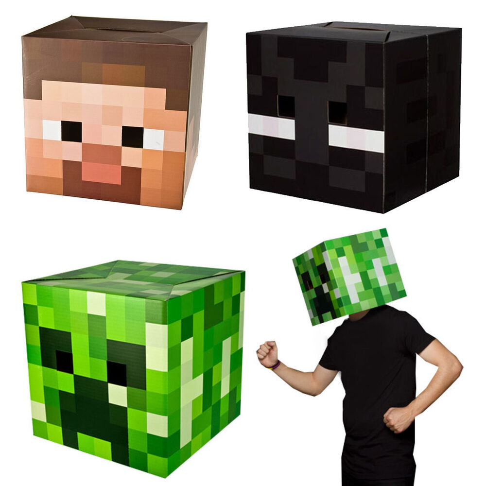 Minecraft box heads fancy dress costume party enderman - Minecraft creeper and steve ...