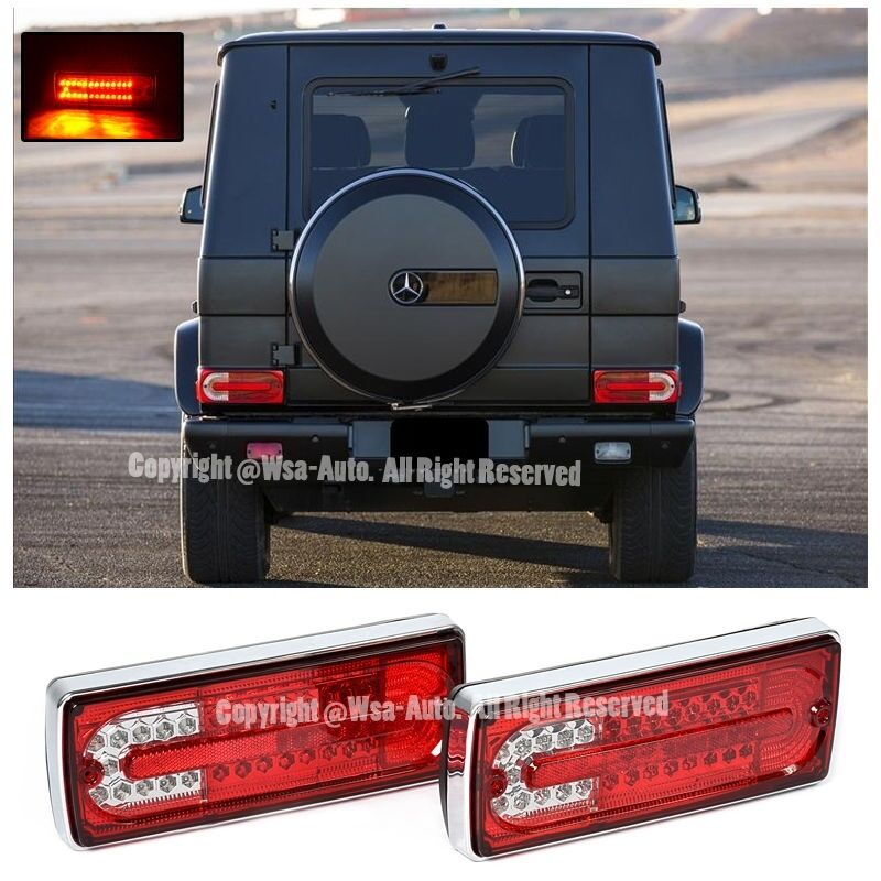 For 02 up mercedes g class w463 rear bumper led tail light for Mercedes benz tail light lens