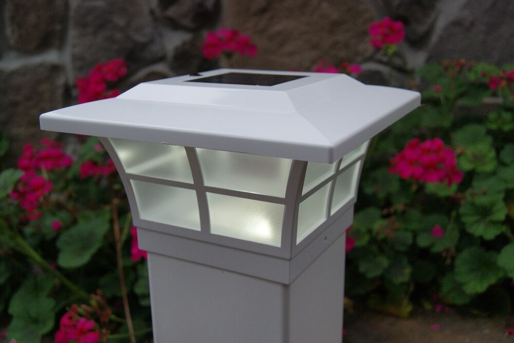 Solar Post Cap Led Deck Fence Lights 5x5 White Finish 4