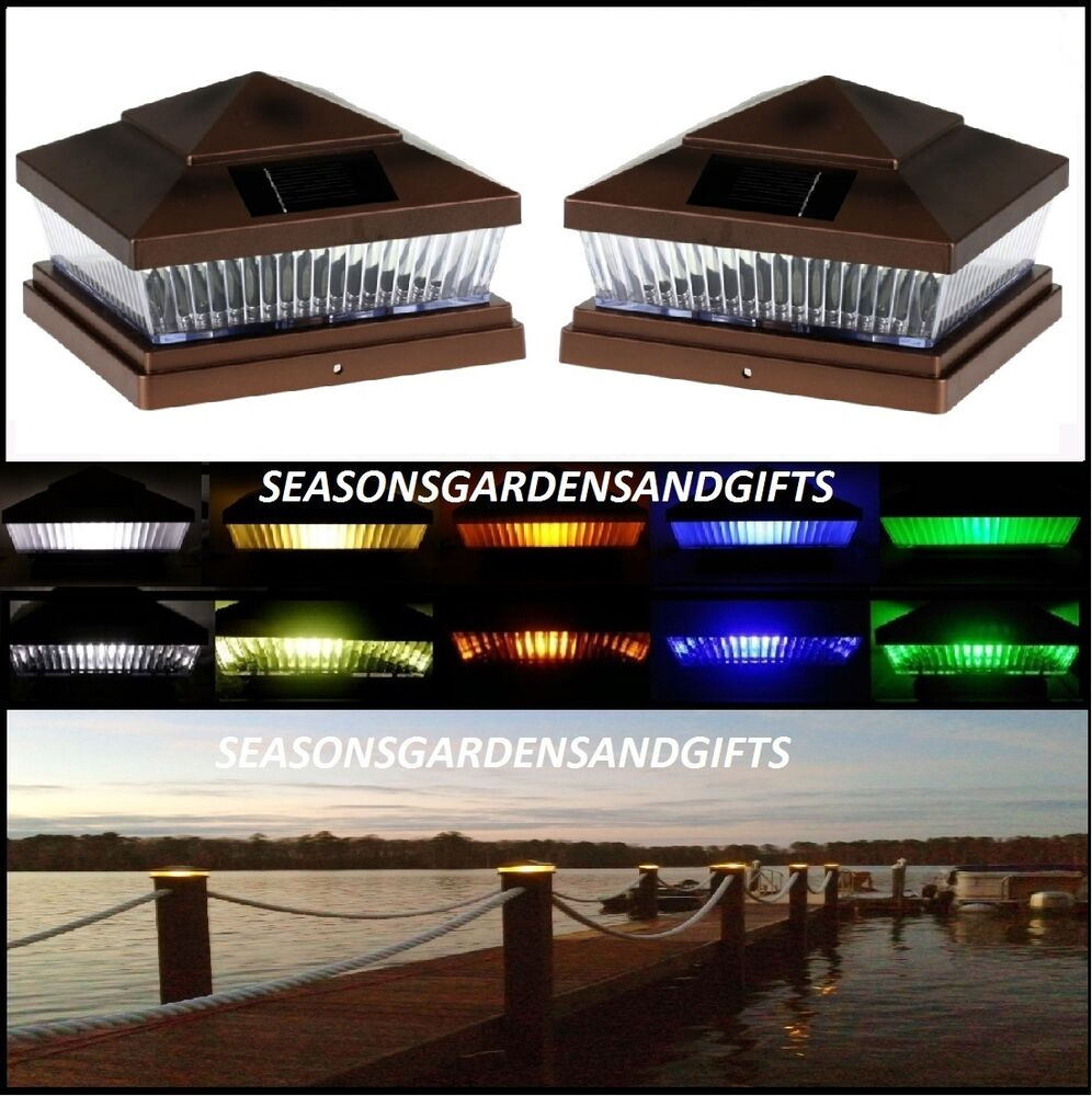 solar post cap deck fence color led lights 5x5 or 6x6 copper colored 6