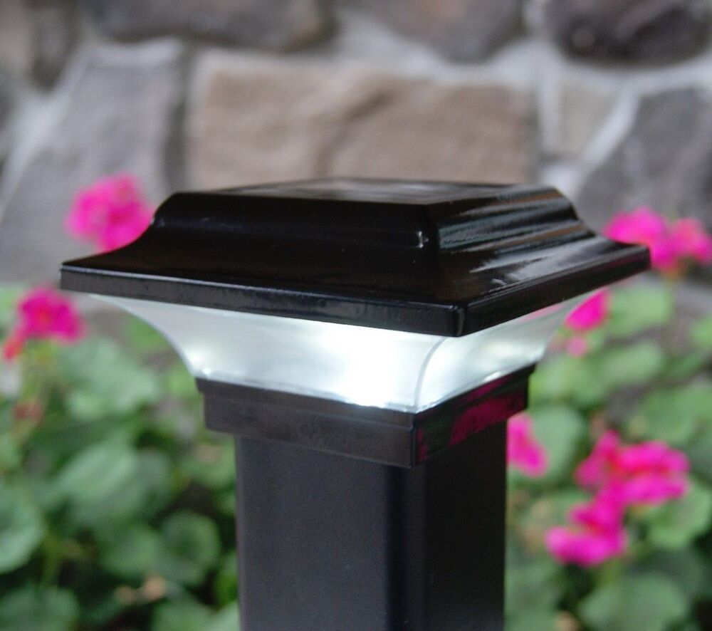 2x2 Black Aluminum Imperial Solar Post Cap Led Deck Fence