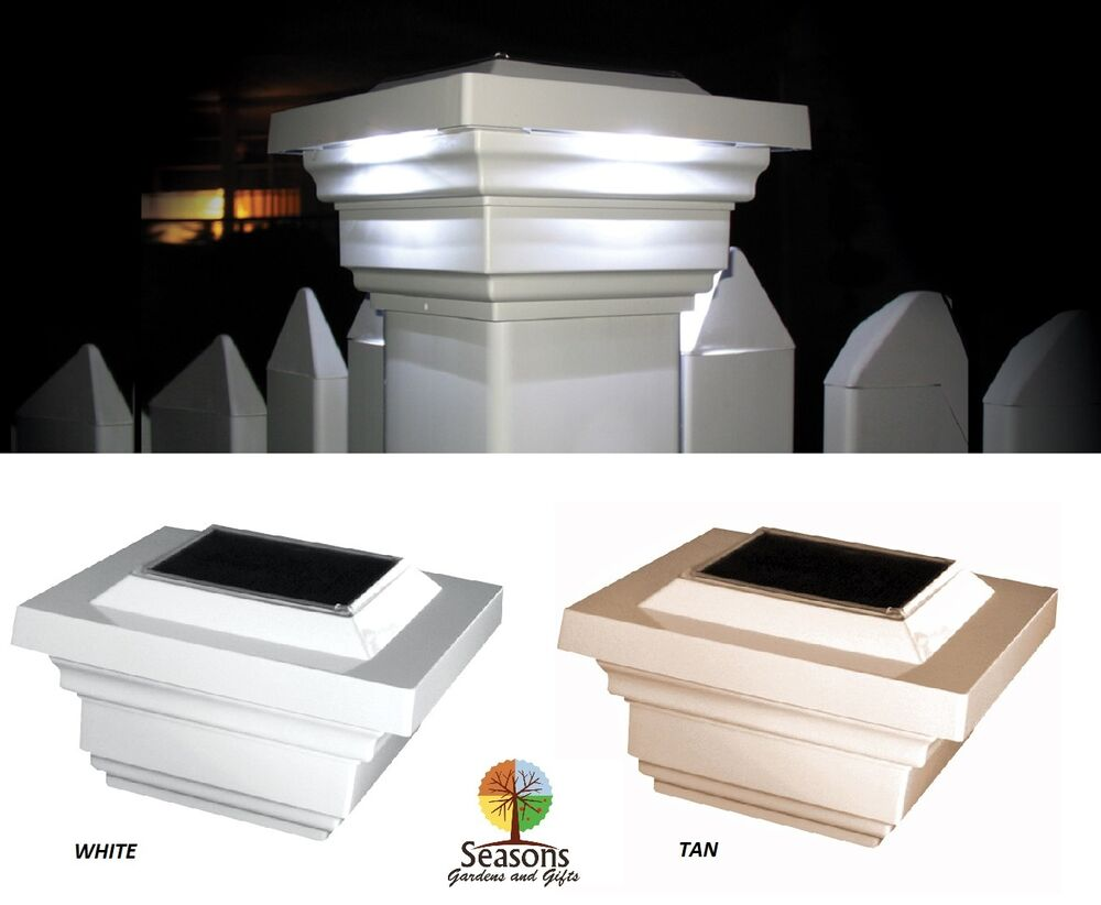4X4 REGAL SOLAR POST CAP LED DECK FENCE LIGHTS TAN OR WHITE 4 PACK : eBay