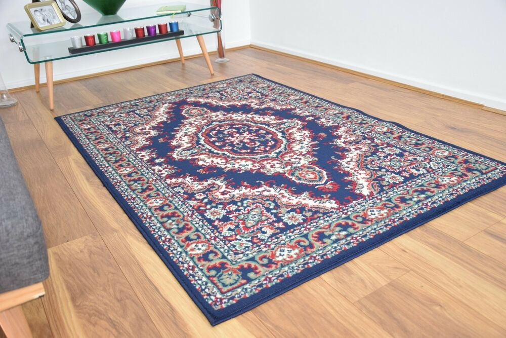 New navy blue large modern traditional medallion area rugs for Cheap cheap carpet
