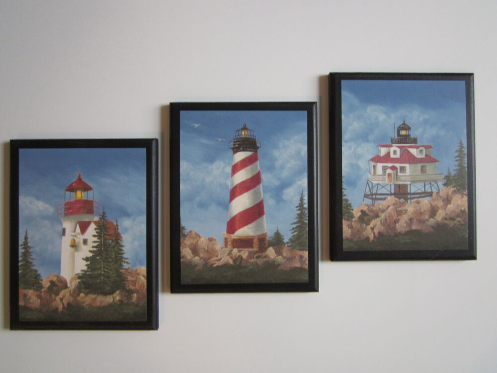 White Wall Decor For Bathroom : Lighthouses wall decor plaques bathroom signs ocean