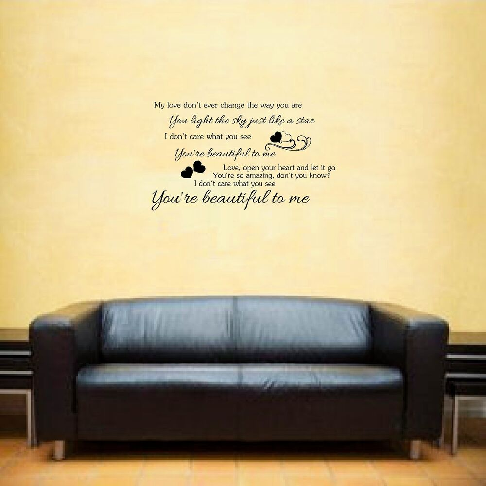 Wall Art Stickers Song Lyrics : Olly murs beautiful to me song lyrics wall art sticker