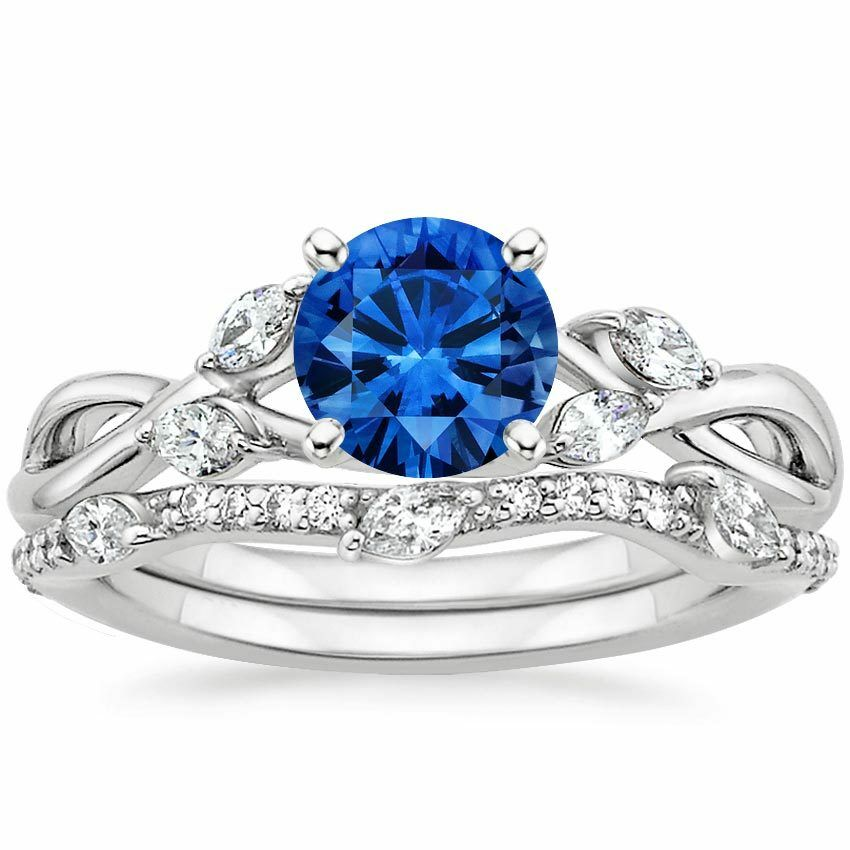 ct blue sapphire diamond engagement ring with band. Black Bedroom Furniture Sets. Home Design Ideas