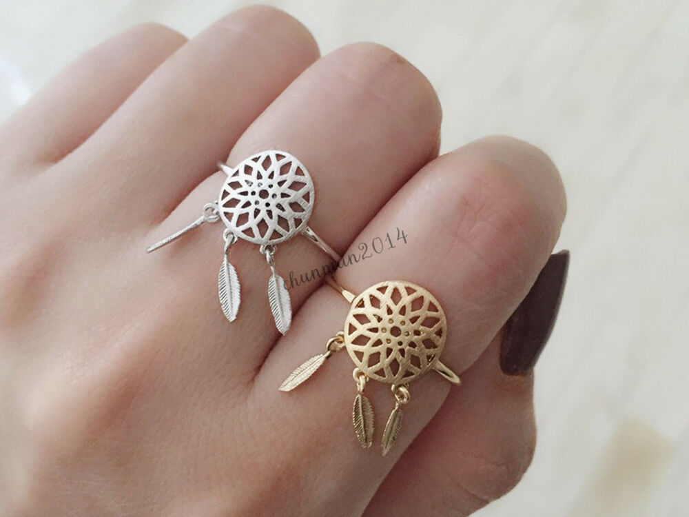 Tribal gypsy dream catcher leaf bohemian boho ring gold for How to make a double ring dreamcatcher