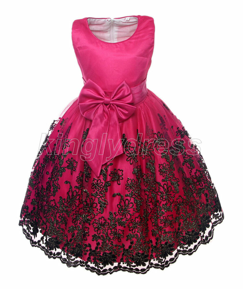 NEW Kid Flower Girl Pageant Wedding Party Dress Cerise ...