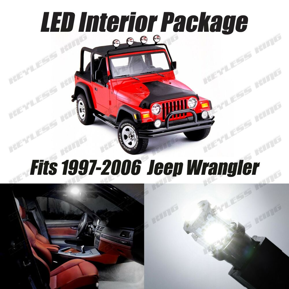 8 pcs led white lights interior package kit for jeep. Black Bedroom Furniture Sets. Home Design Ideas