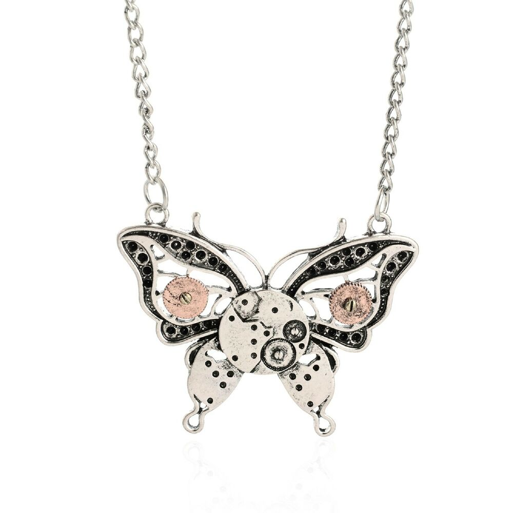 Retro Silver Vintage Steampunk Machinery Butterfly Pendant Chain Necklace Gift Ebay