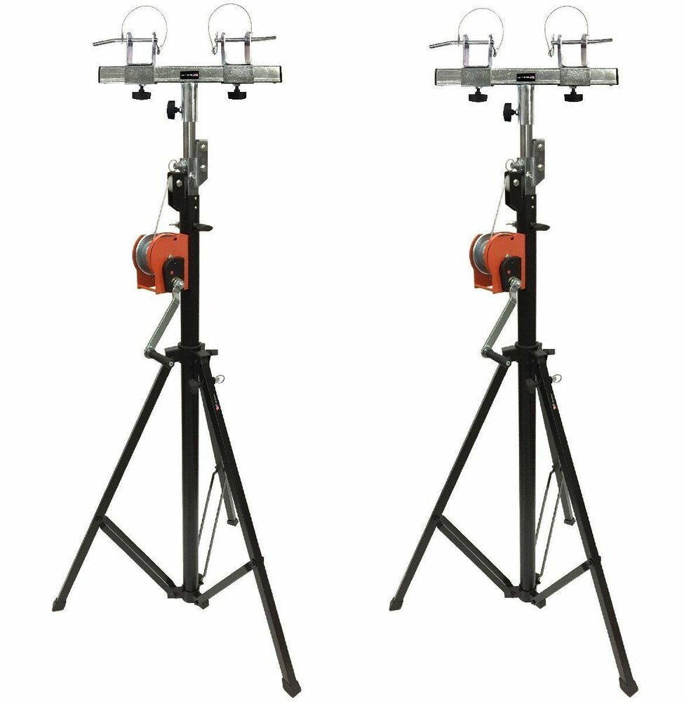 two 2 xtruss 14ft lighting crank stands 220 lb universal t adapter dj pa club ebay. Black Bedroom Furniture Sets. Home Design Ideas
