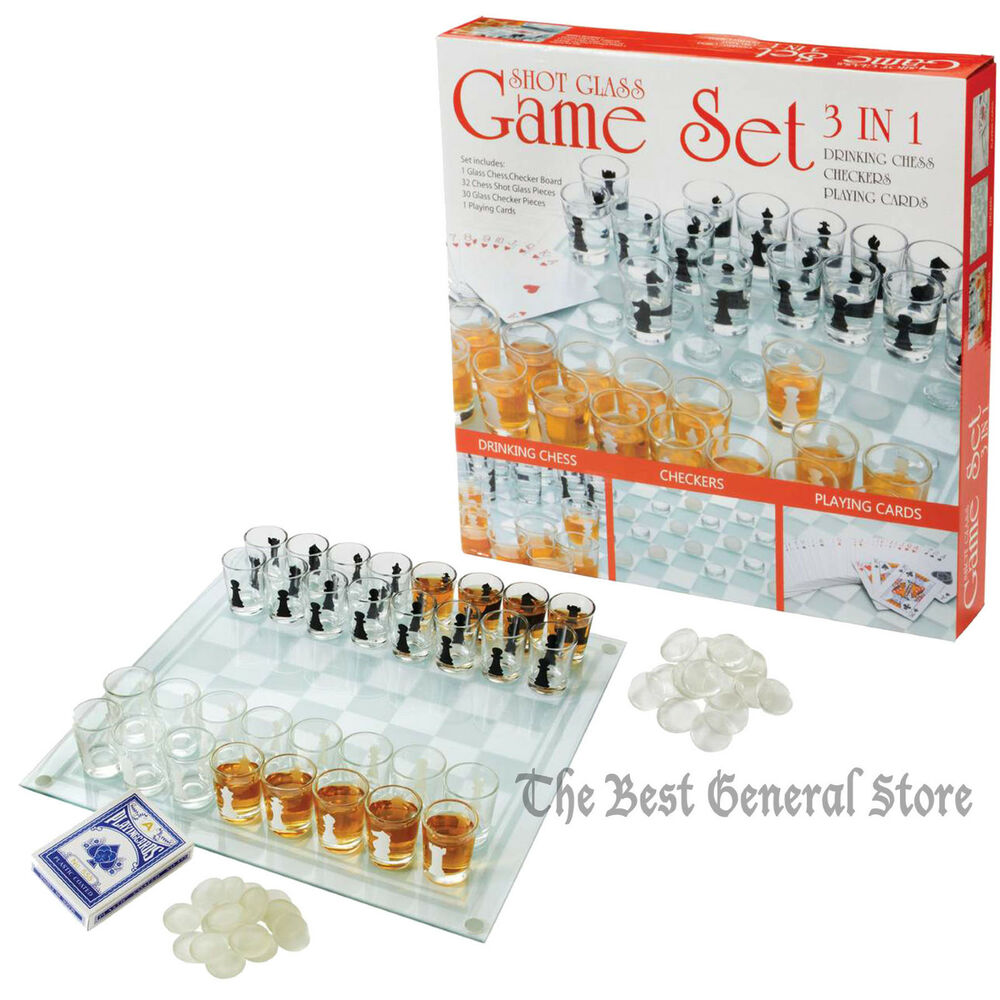 Shot glass game board chess checkers set drinking bar game for Food bar drinking game