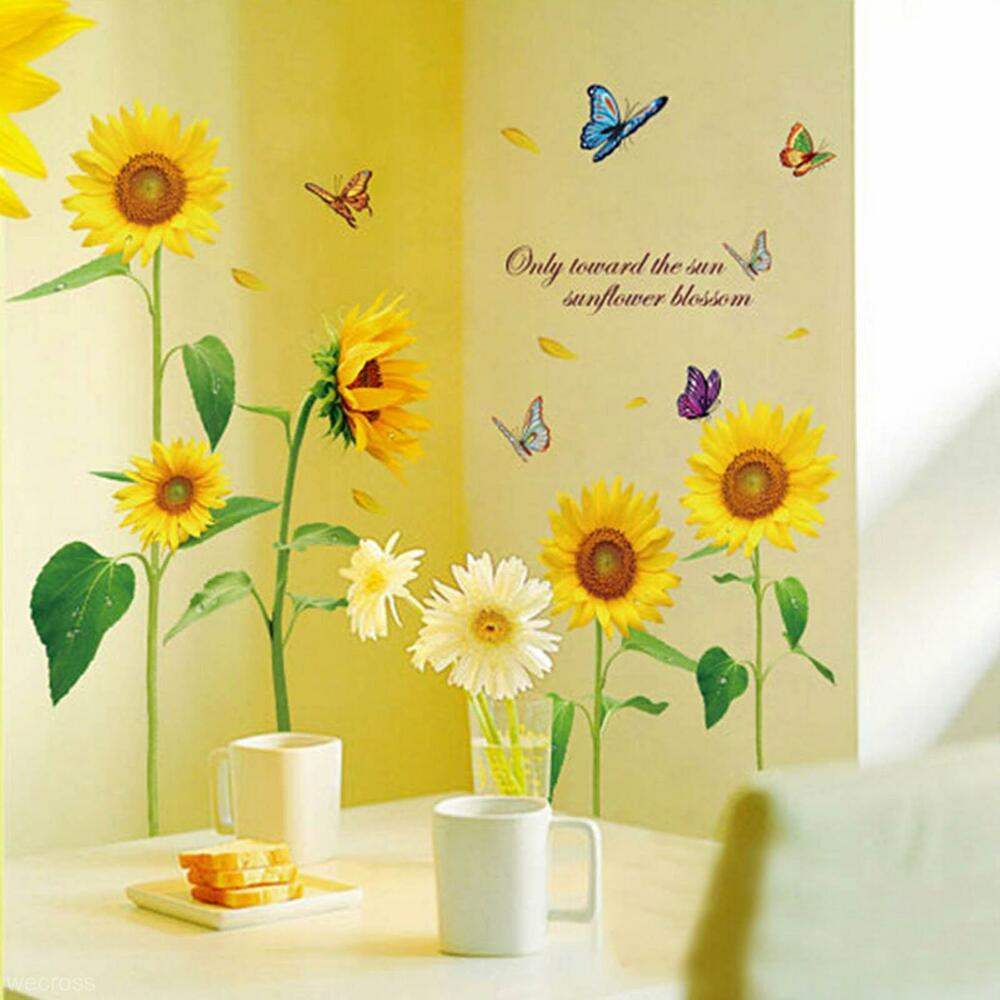 Sunflower Home Decor: Beautiful Sunflower Butterfly Flying Vinyl Art Home Decor