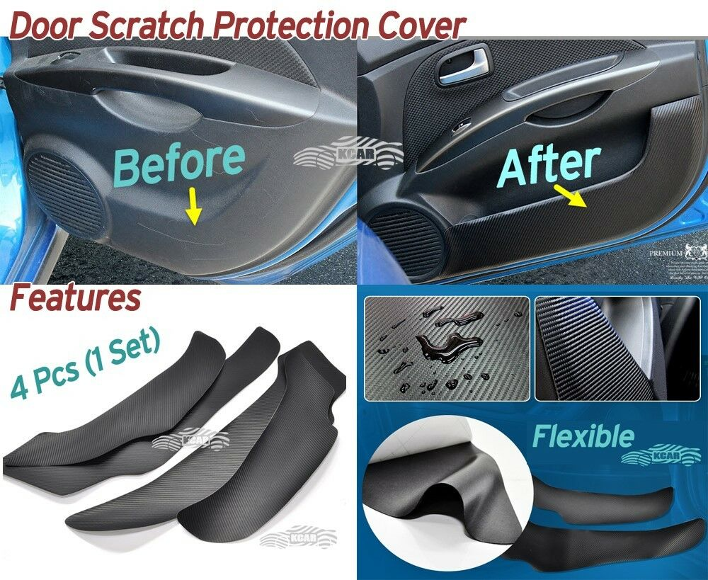 carbon inside door cover kick scratch protector 4p for hyundai sonata 2014 2017 ebay. Black Bedroom Furniture Sets. Home Design Ideas