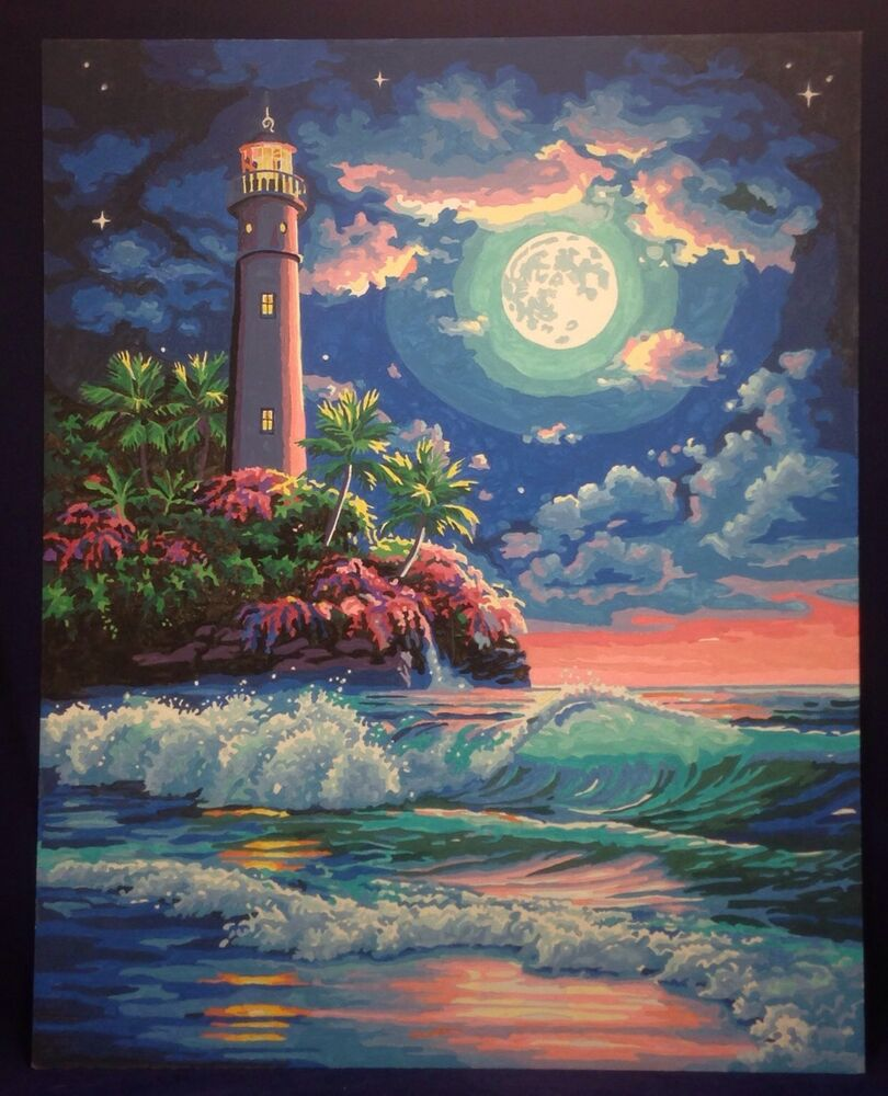 Paint By Number Lighthouse In The Moonlight Tropical Scene