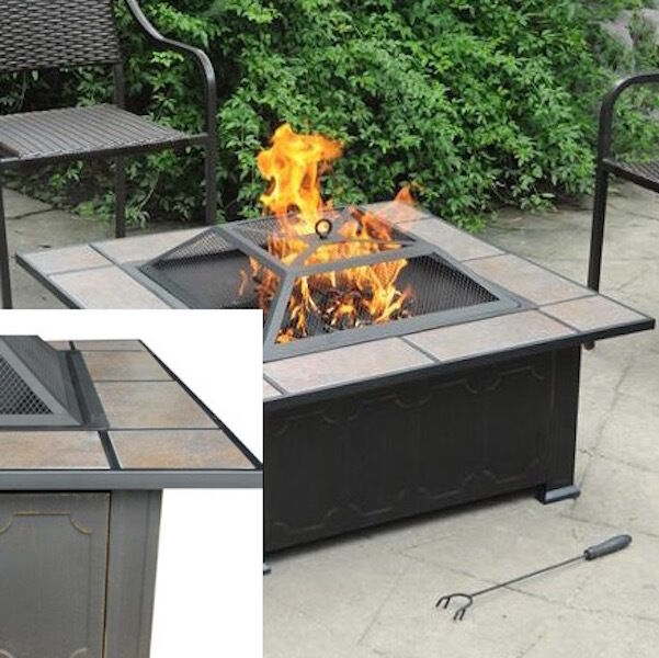 Backyard Fire Pit Ceramic Table Top Antique Bronze