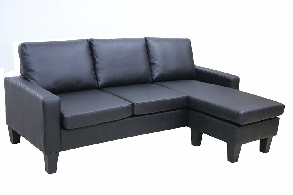 Black leather sectional sofa w reversible chaise lounge for Black chaise lounge sofa