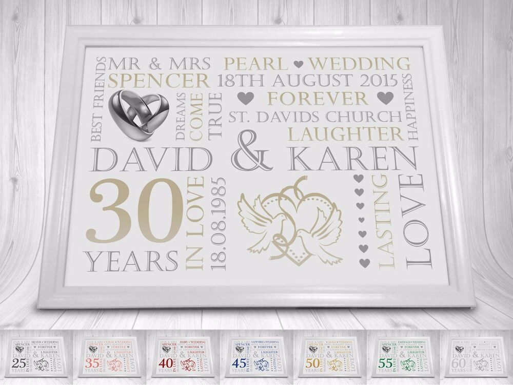 Gifts For 45th Wedding Anniversary: Wedding Anniversary Gift Print Personalised A4 25th 30th