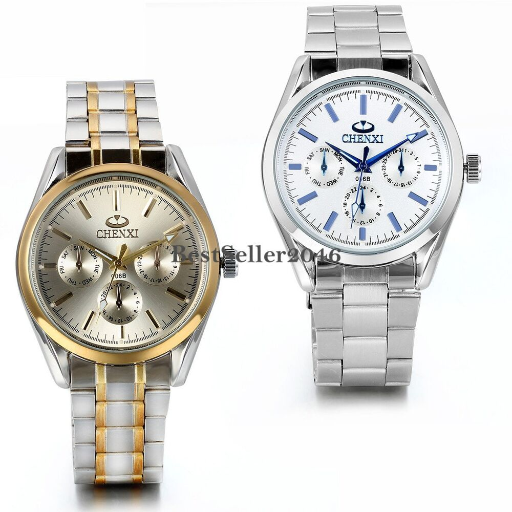 luxury s stainless steel band golden tone silver
