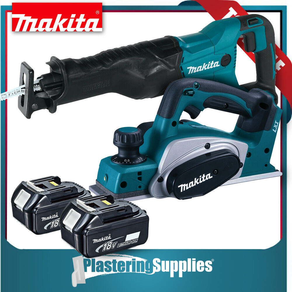 makita 18v 3 cordless planer dkp180z recip saw bjr182 2x 4ah batteries ebay. Black Bedroom Furniture Sets. Home Design Ideas
