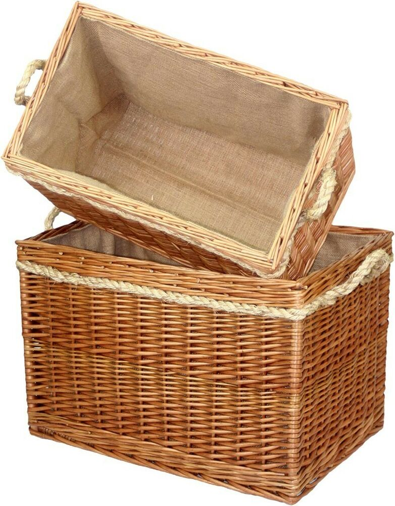 Large Wicker Willow Basket L Storage With Rope Handle Log Toy Laundry Hamper Ebay