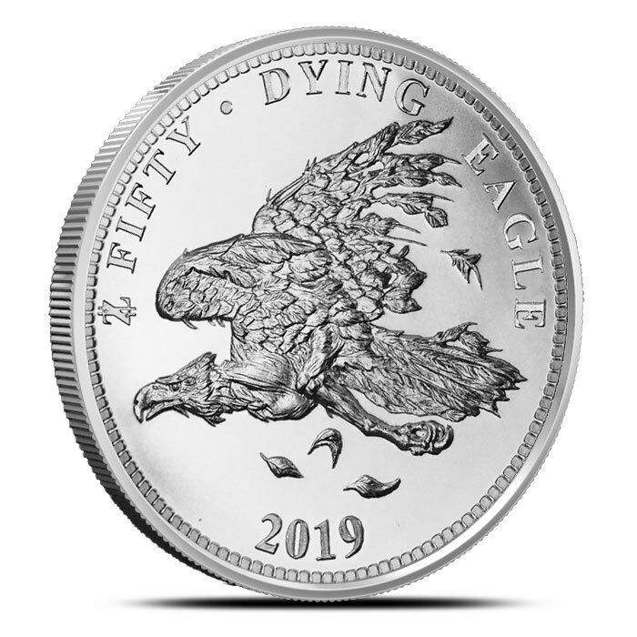2019 1 Troy Oz Silver Round Dying Eagle Coin Zombucks 999