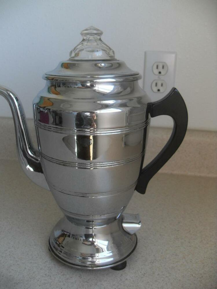 Antique Percolator Coffee Maker : FORMAN #1301 electric COFFEE POT Percolator CHROME vintage for display only #24 eBay