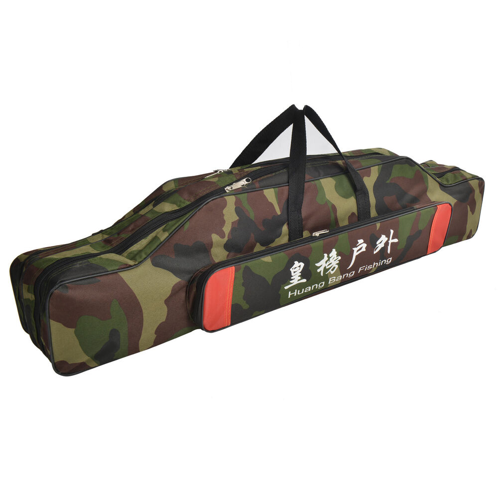 Camo fishing rod lures tackle bag case storage organizer for Fishing backpack with rod holder