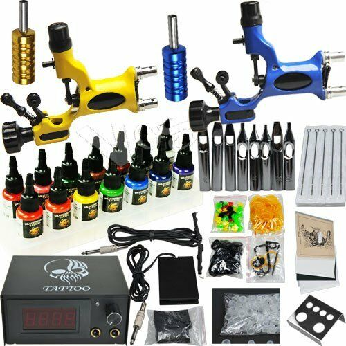 Professional complete tattoo kit 2 top rotary machine gun for Tattoo supplies ebay