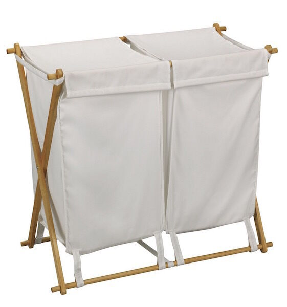 Double Laundry Hamper White Large Wood Fabric Basket