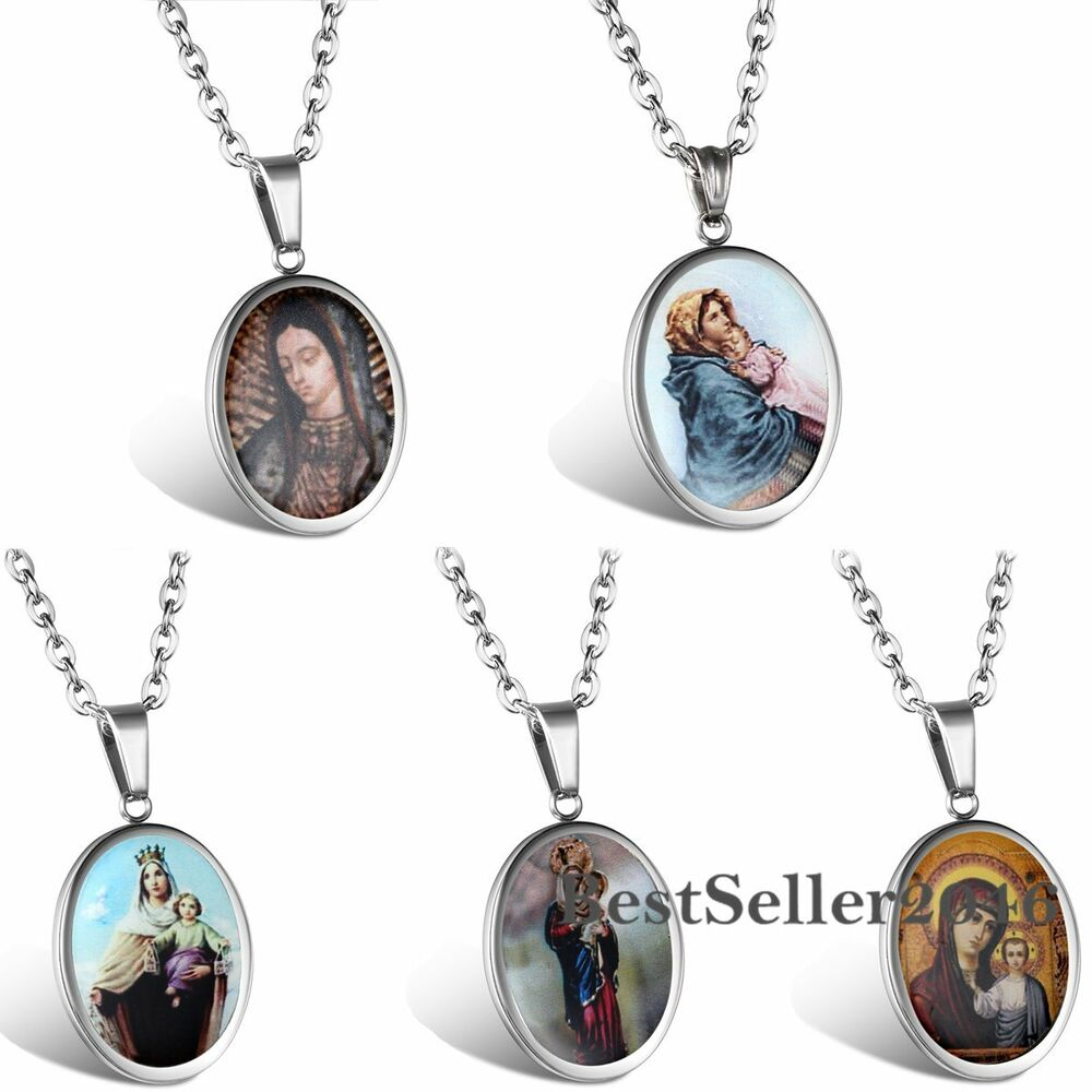 Oval medal virgin mary stainless steel mother of god charm for Stainless steel jewelry necklace