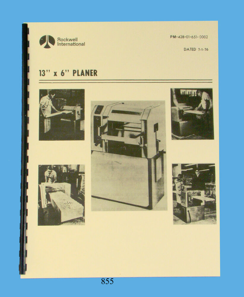 "Rockwell 18/""x 6/"" Planer 22-200 thru 22-251 Op /& Parts List Manual Jun 1970 #1451"