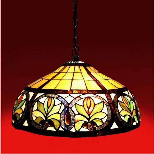 Antique Tiffany Hanging Lamp Value: Tiffany Style Hanging Lamp Vintange Antique Sunrise