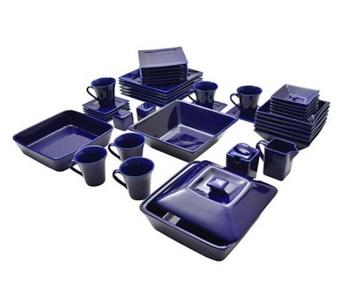 Dinnerware Set 45 Piece Square Serving Dishes Plate Bowls