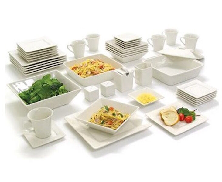 white dinnerware set 45 piece square serving dishes plate bowls mugs