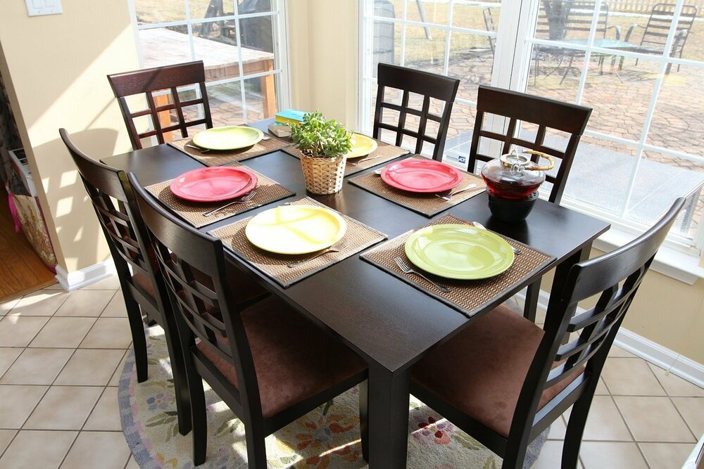 7pc espresso dining room kitchen set table 6 wheat