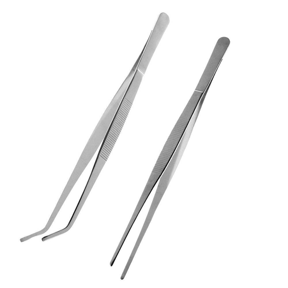 "2 Tongs: 2 Pcs Reptile Feeding Tongs Tweezers 24.5cm 9.7"" Stainless"
