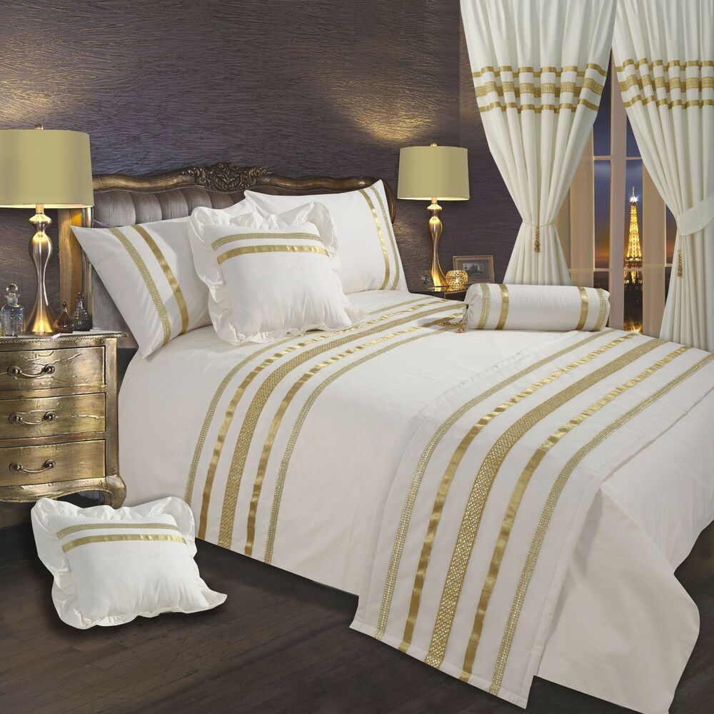 cream off white gold ribbon 200 thread count cotton luxury bedding or curtains ebay. Black Bedroom Furniture Sets. Home Design Ideas