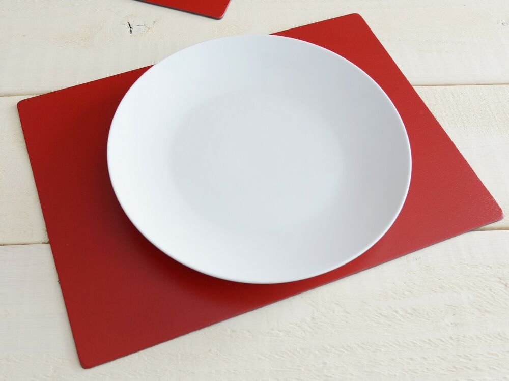 Set of 4 red extra large leatherboard placemats ebay for Oversized placemats