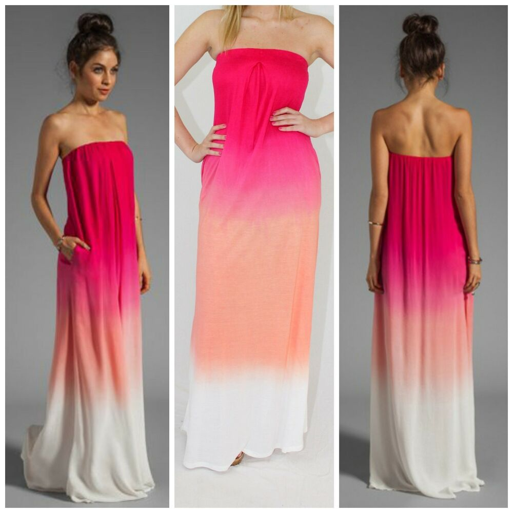&amp034Karissa&amp034 Strapless Pink Ombre Tie Dyed Maxi Dress ...