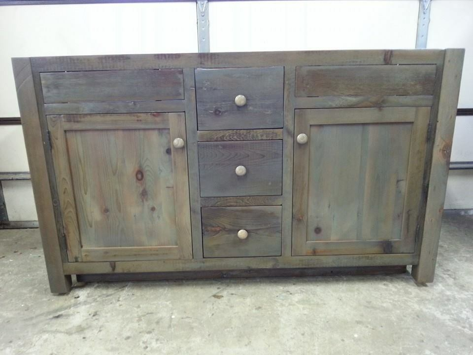 Amish built unfinished reclaimed barnwood 60 custom Unfinished bathroom vanity cabinet