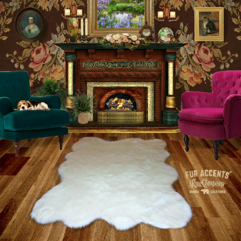 Fur Accents White Random Sheepskin Faux Fur Area Rug Shag