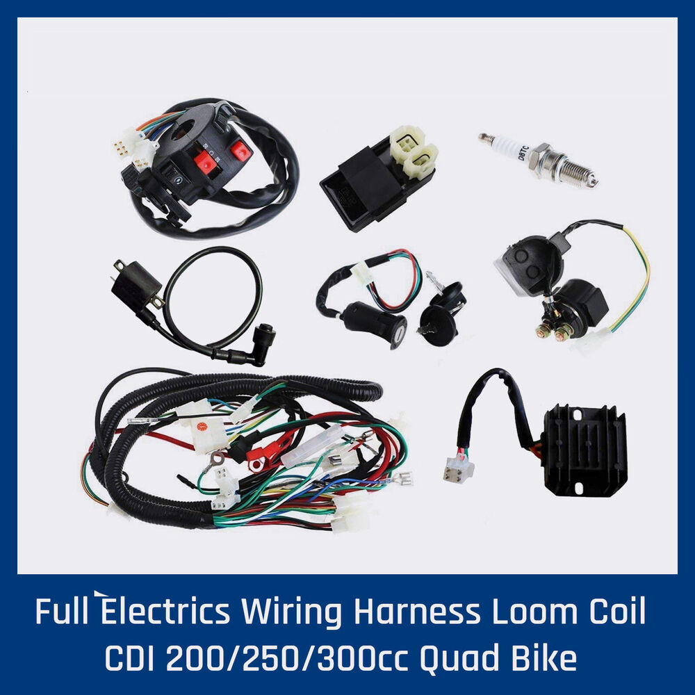 Full Electrics Wiring Loom For 150 200 250 300cc Atomik Motoworks Motorcycle Looms Atv Quad Buggy Ebay
