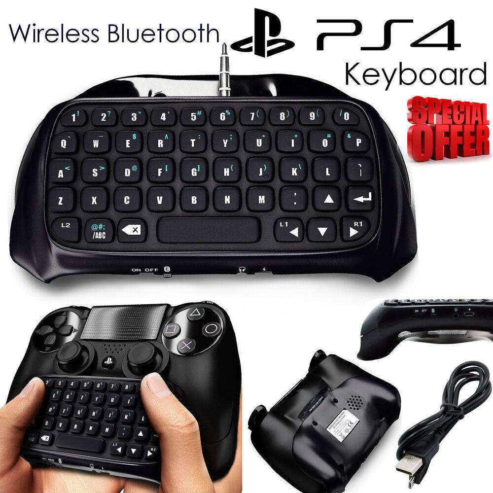 playstation for ps4 bluetooth wireless keyboard chatpad controller gamepad black ebay. Black Bedroom Furniture Sets. Home Design Ideas