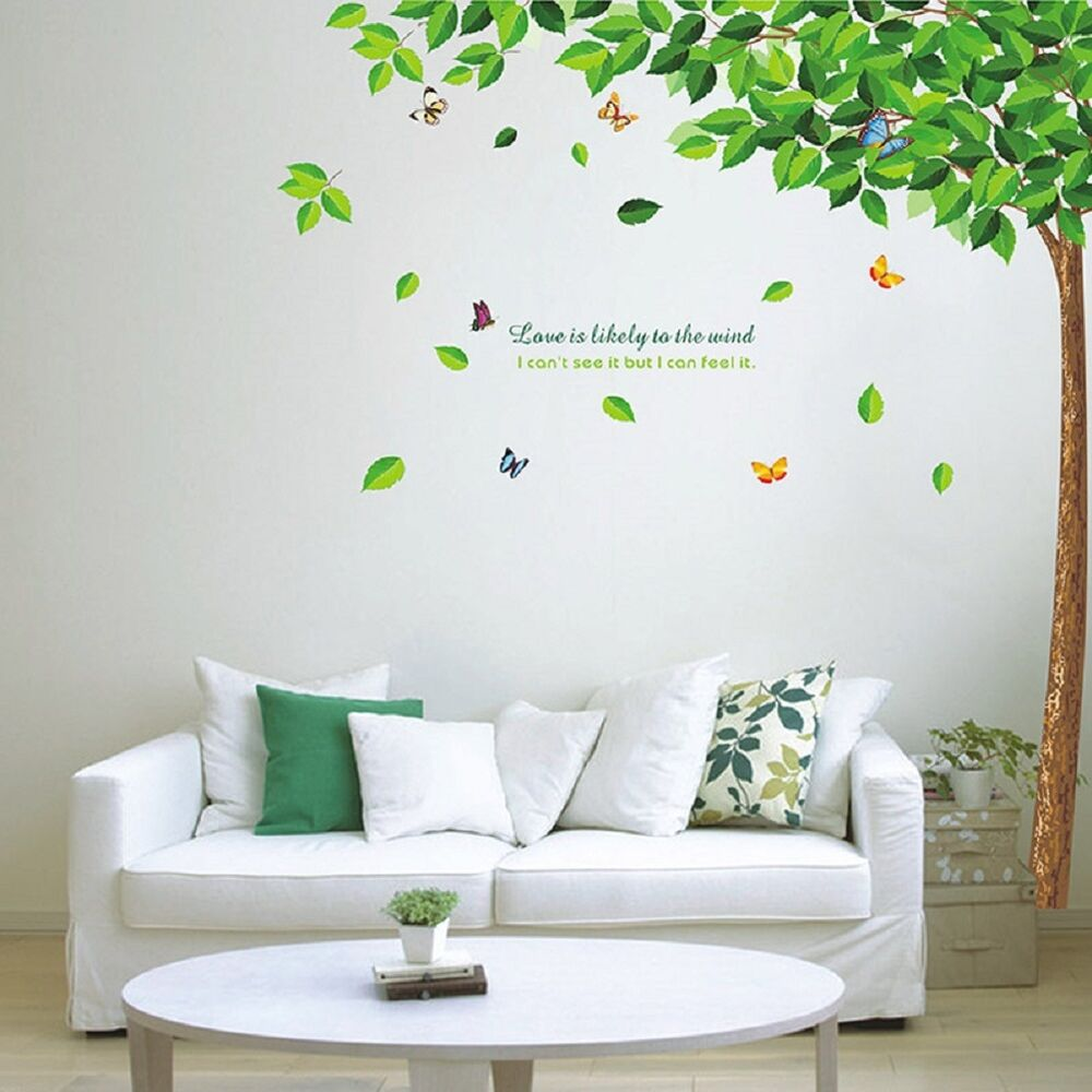 butterfly in tree wall decal decor for living room sc15 ebay. Black Bedroom Furniture Sets. Home Design Ideas