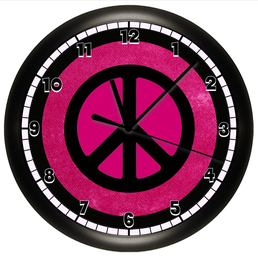 hot pink and black peace sign wall clock gift decor girls