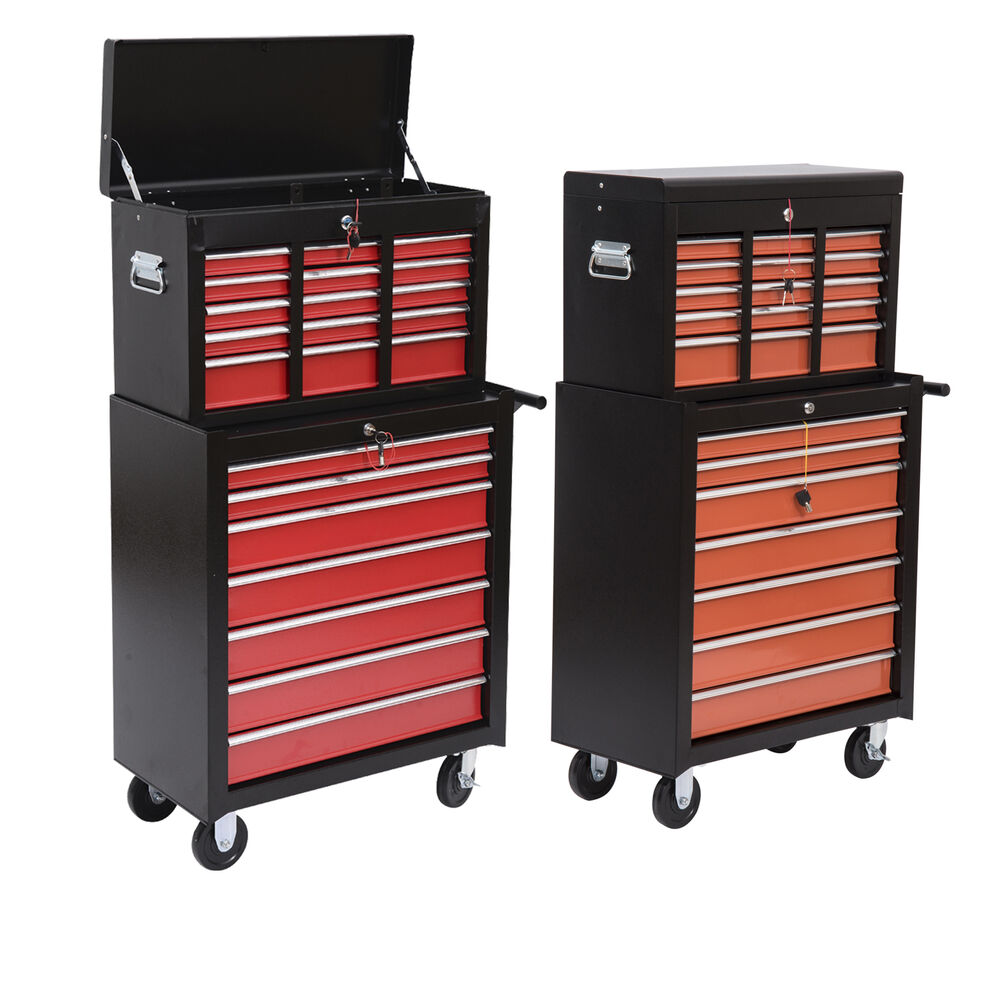 rolling toolbox cabinets tool cart chest box 16 drawers storage organizer ebay. Black Bedroom Furniture Sets. Home Design Ideas