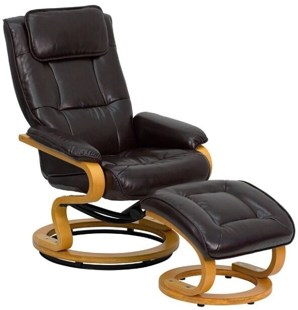 Dark Brown Leather Recliner Matching Ottoman 360 Degree