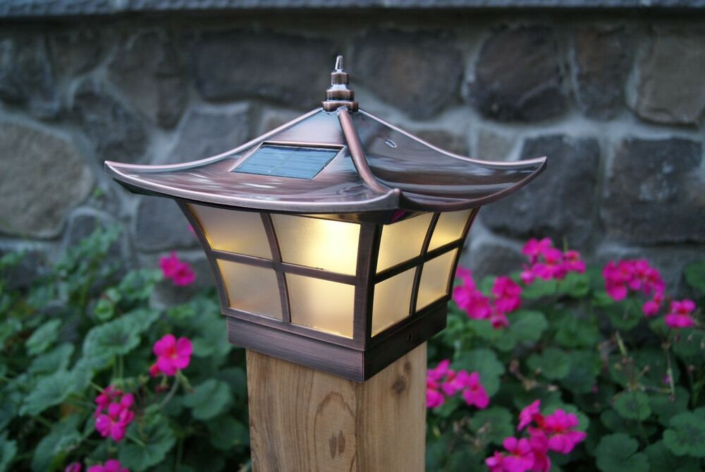 4x4 copper electroplated ambience solar post cap led deck fence lights. Black Bedroom Furniture Sets. Home Design Ideas